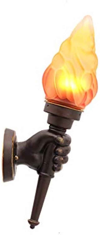 Unbekannt Fackelwand Lampe Wasserdicht Retro-Gang Wandleuchten Traditionelle Aluminium-Glas LED E27 Flame Efect Wall Sconce Laternen Einzigartige Fashion Cafe Garden Park Courtyard(Linke Hand)