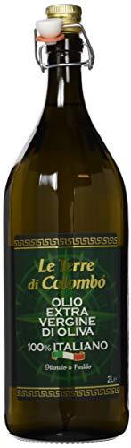 Le Terre di Colombo – 100 % Italienisches Natives Olivenöl Extra, Gerippte Flasche mit Mechanischem Verschluss, 2 l