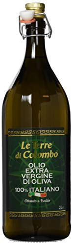 Le Terre di Colombo – 100 {31fca28105fa0bcb067759f459abcb5b1b75d0eddab18dc7f3d4c3cc45018dc6} Italienisches Natives Olivenöl Extra, Gerippte Flasche mit Mechanischem Verschluss, 2 l
