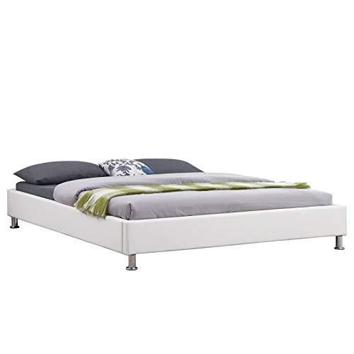 IDIMEX Futonbett Nizza modernes Design, Bettgestell Bett Doppelbett 160 x 200 cm, Kunstlederbezug in weiß