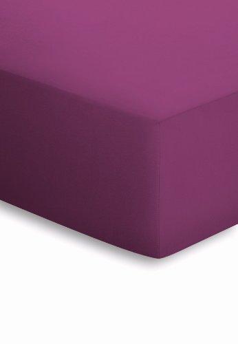 schlafgut Mako-Jersey Basic Spannbetttuch, Baumwolle, Beere, 200 x 100 cm