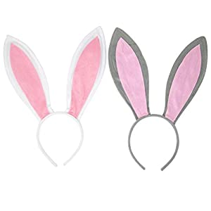 PACKAGE INCLUDES - One set includes 1 pcs gray bunnie ear with pink inner ear, 1 pcs white bunny ears with pink inner ears . The headbands were covered with fleece fabric and no animal fur included.Buy one get two instead! ONE SIZE FITS MOST - One si...