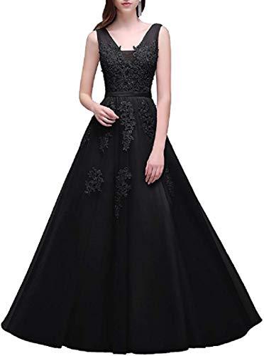 Romantic-Fashion Damen Ballkleid Abendkleid Brautkleid Lang Modell E001-E006 Blütenapplikationen Tüll DE Schwarz Größe 44