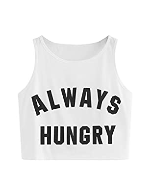SweatyRocks Women's Casual Sleeveless Round Neck Workout Crop Tank Top Shirts White M