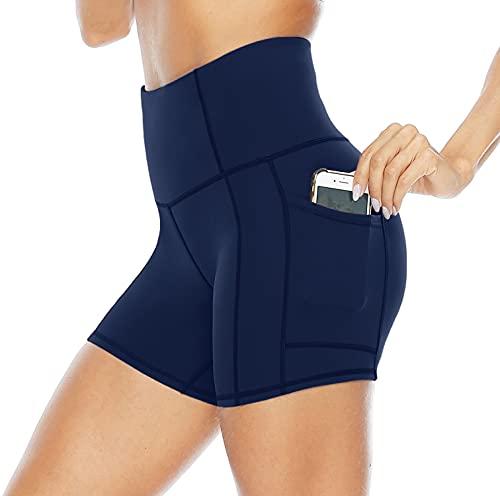 Persit Mallas cortas de deporte para mujer, pantalones de yoga, pantalones de entrenamiento, pantalones cortos de cintura alta, mallas con bolsillos azul cobalto 40