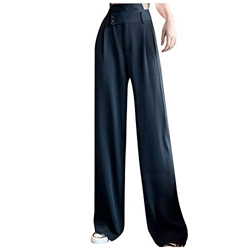 Womens Pants, Women's Solid High Waisted Pocket Wide Leg Pants Straight Baggy Trousers for Summer Holiday
