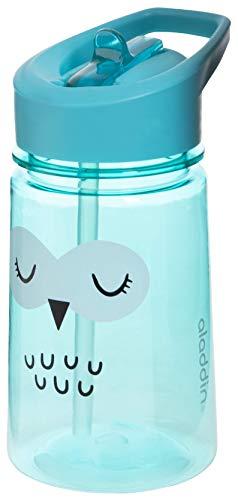 Aladdin Zoo Flip & Sip Kinder-Trinkflasche, 350ml, Türkis, Motiv Eule, Kinderflasche Trinklernflasche Strohhalmflasche