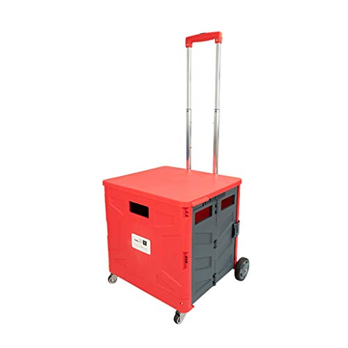Rolling Cart For Teachers, Mobile Folding Cart With Wheels Lid, File Cart Grocery Shopping Cart Foldable, Collapsible Rolling Tote Rolling Crate Extended Handle (Color : Red)