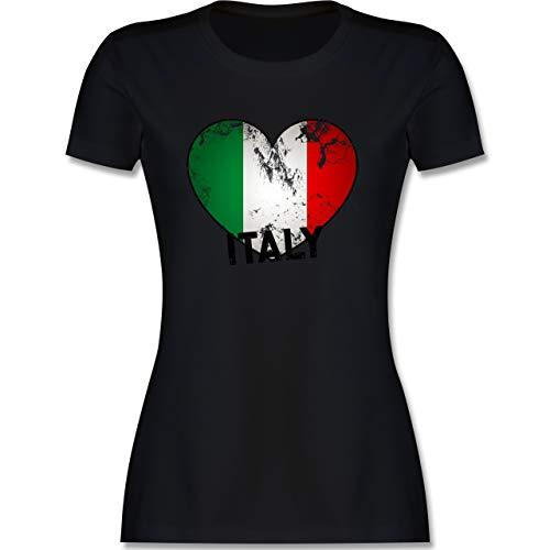 Länder Fähnchen Fahnen und Flaggen - Italien Herz Vintage - S - Schwarz - italienische Flagge Tshirt Damen - L191 - Tailliertes Tshirt für Damen und Frauen T-Shirt