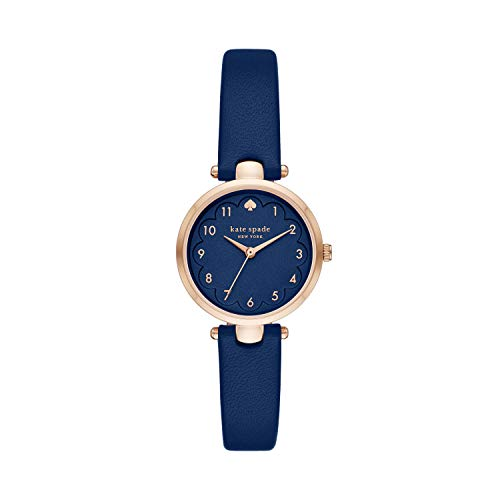kate spade new york Women's Holland Stainless Steel Quartz Watch with Leather Strap, Blue, 10 (Model: KSW1699)