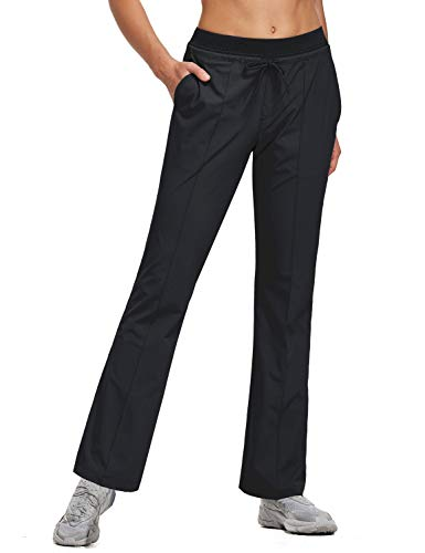 BALEAF Women's 30 Inches Bootcut Hiking Pants Quick Dry Lightweight Stretch Pants UPF 50+ Water Resistant Black Size M