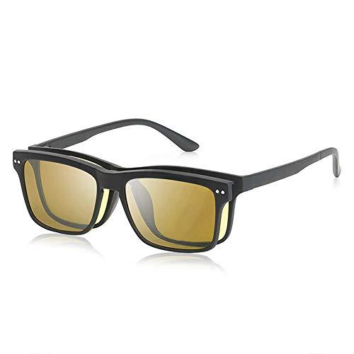 LR Classic Clip On Magnetic Polarized Shades Sunglasses,Light Ultra Rx-able Lens TR90 Plastic Blue Light Blocking Glasses for men women (Night Vision+Polarized Sunglasses Lens)