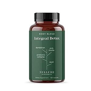 Body Detox Natural Nullure | Limpiar el Hígado y Mejorar el Microbioma | Potente Antioxidante - Diente de León + Cardo Mariano + Cúrcuma + Probióticos + Jengibre + Acai + Selenio - 120 cápsulas