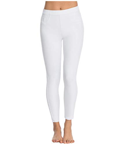 Spanx Damen Cropped Indigo Knit Leggings White XL Hose