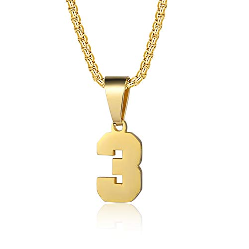 YOYO&YOKI Number Necklaces Personalized Necklaces 18K Gold Plated Initial Number Pendant Stainless Steel Chain Movement Necklaces for Men Women (3)