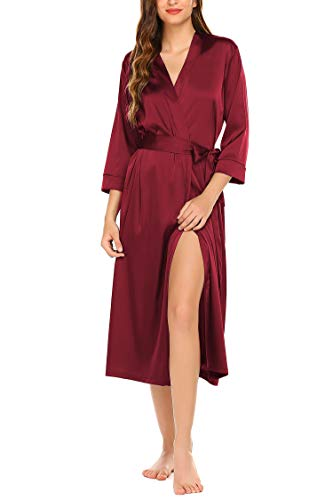 Hotouch Women's Bride Long Satin Kimono Robes Bridesmaids Bride Sleepwear with Oblique V-Neck S-XXL Wine Red