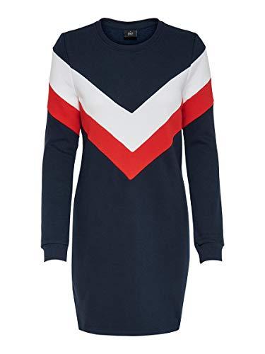 ONLY Damen ONLDAKOTA L/S O-NECK DRESS SWT Kleid, Night Sky/Detail:CLOUD DANCER + FIERY RED, M
