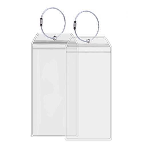 Cruise Tags Holders for Luggage E-Tags Waterproof With Resealable Zipper & Steel Loops (2Packs)