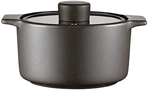 Cazuela de cerámica de loza, resistente al calor, cazuela de cocción lenta, cazuela de doble mango, cazuela que puede hacer sopa (color: negro, tamaño: 4,5 L)