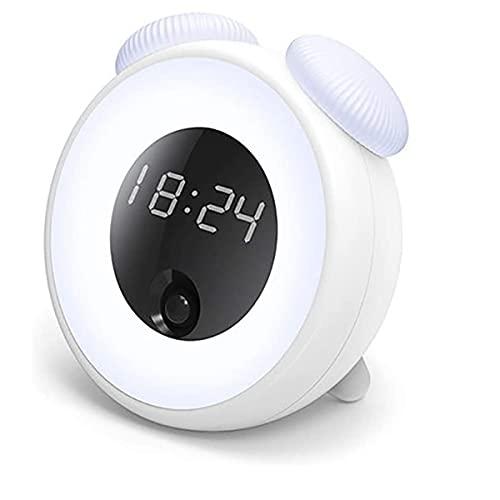 Cabecera Cuarto Silencio Despertadores Luz, reloj de alarma de salida del sol con radio FM Snooze Función Colores LED Lámpara de noche Lámpara de noche Naturaleza Sonidos de Naturaleza para Durmiente