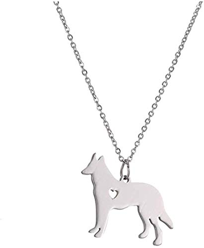 huangshuhua Collar Pastor Alemán Colgante Collar Oro Plata Color Acero Inoxidable Joyas Raza Perro Mascota Memorial Rescate para Perros Regalos para Amigos