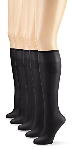 Nur Die Damen Kniestrümpfe 626969/5er Pack Knie Seidenfein,5er Pack 15 DEN, Gr. One size, schwarz (schwarz 094)