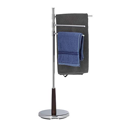 Relaxdays, Standhandtuchhalter Chrom, 3 armig, freistehend, HxBxT: 90 x 44 x 26 cm, Silber Handtuchhalter schwenkbar, 26 x 44 x 90 cm