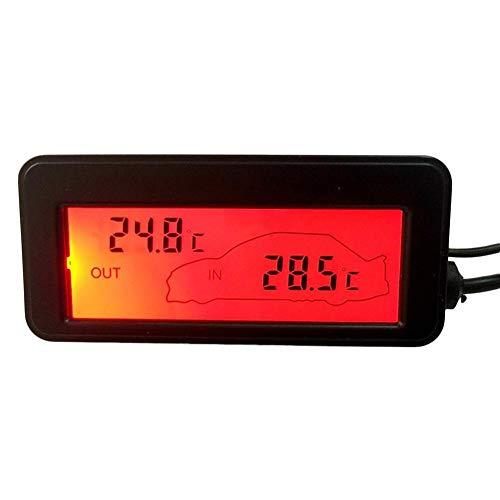 tidystore DC12V Digital Auto Thermometer Auto Innen & Außenbeleuchtung LCD Mini Thermometer