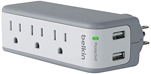 Belkin 3-Outlet USB Surge Protector, Rotating Plug– Ideal for Mobile Devices, Personal...