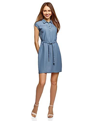 oodji Collection Damen Lyocell-Kleid mit Gürtel, Blau, DE 34 / EU 36 / XS