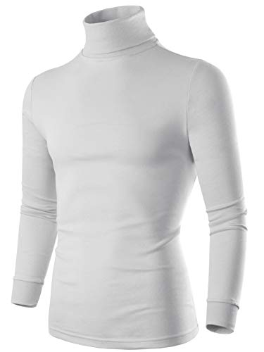 SERHOM Mens White Striped Turtleneck Sweater 2XL Men Turtleneck Pullover Top, 100% Combed Cotton