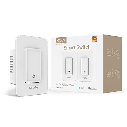 MOES 3-Way WiFi Smart Switch for Light Fan,Compatible with Alexa and Google Home,No Hub Required,Smart Life APP Provides Control from Anywhere.(2 Pack White)