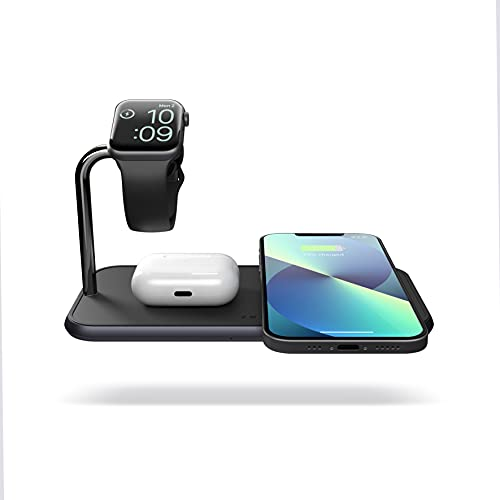 Dual 10-Watt Aluminum Wireless Charging Pad and Watch Charger Station, Qi and MFi Certified, Supports Apple and Samsung Fast Charge, Adapter Included, Black