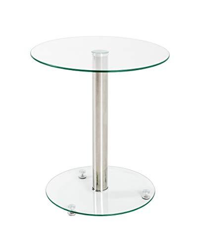 HAKU Möbel Beistelltisch, Edelstahl-Klarglas, Ø: 43 x 51