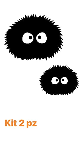 Totoro - Juego de 2 pegatinas divertidas para coche y cristales, diseño de erizo negro (negro)