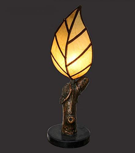 Errzom Lámpara de Mesa LED con Forma de Hoja, luz Nocturna, raíz de árbol de Hoja de imitación Hecha a Mano, lámpara de Noche de Dormitorio Retro para Sala de Estar, Estudio, Sala de té, DEC