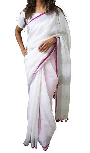 Mehrunnisa Handloom Premium Linen Saree with Zari Border from West Bengal (White & Magenta)