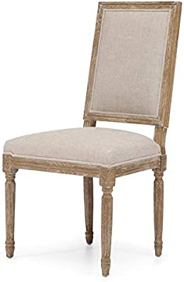 Amazon.com - Dining Chair Dovetail Rivas Oak Frame Linen ...