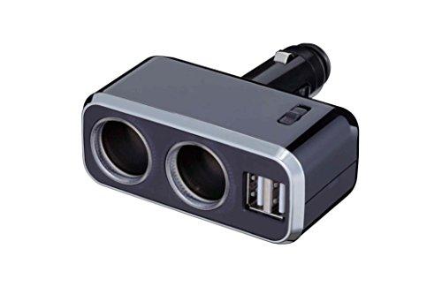 ナポレックス 車用 シガーソケット分配器 2連 USB端子2口 Fizz イルミソケットD2 USB 2.4A ブラック 12V車専用 通電モニター付 ヒューズ付10A(30mm) NAPOLEX Fizz-1011