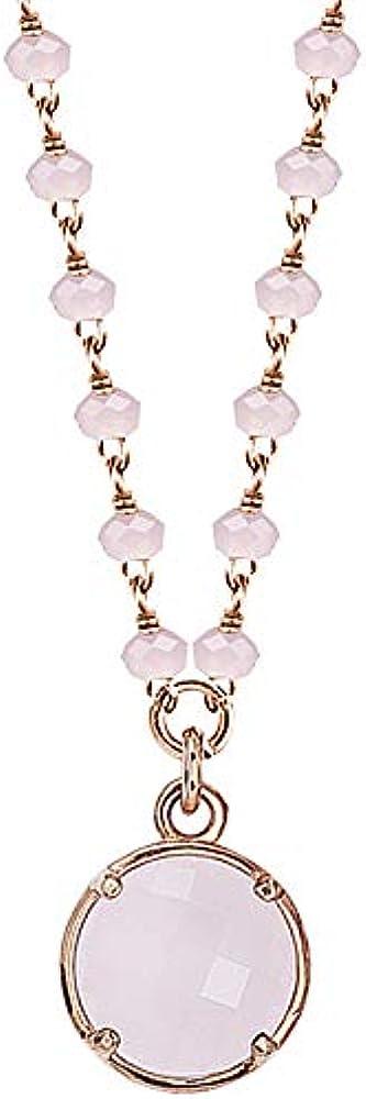Boccadamo, collana per donna, in bronzo placcato oro rosa con cristalli rosa Ik/Gr29
