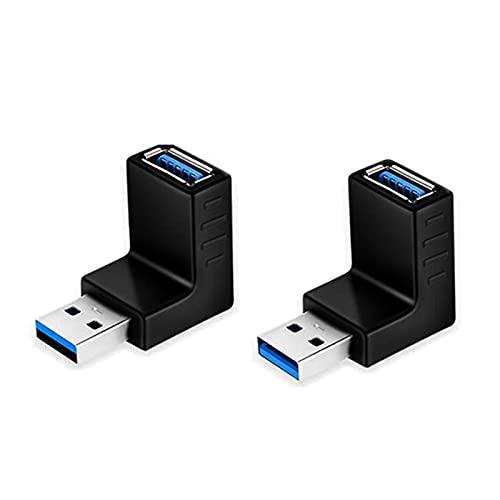 EasyULT 2 Piezas Adaptador USB 3.0 Conector Acoplador de ángulo Ascendente y Descendente Vertical de 90 Grados Macho a Hembra, 5 Gbps Adaptador Conector USB A De Velocidad Rápida Cambiador