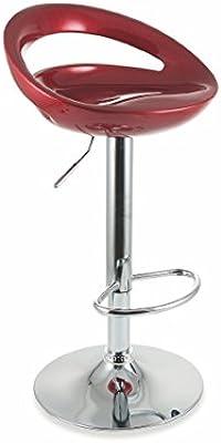 Galileo Casa 2422514 - Juego de 2 taburetes de Bar con Respaldo, ABS, Rojo, 40 x 46 x 77 cm