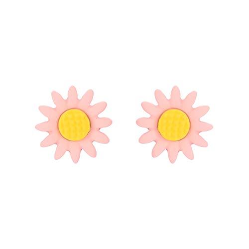 ZHOUBAA Pendientes de moda para mujer, 1 par de pendientes de aleación para mujer, con forma de flor, accesorios de joyería, Zinc,