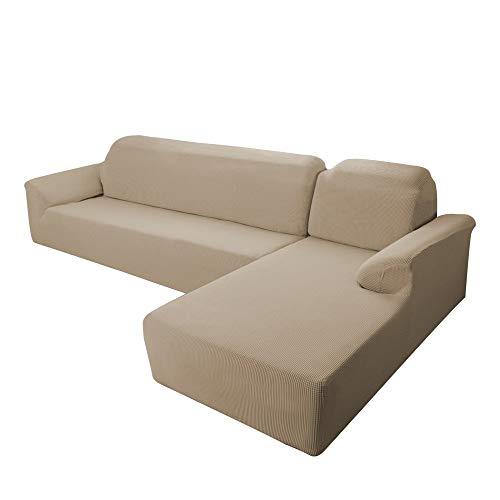 E EBETA Funda Elástica para Sofá Chaise Longue, Funda Cubre Sofá Chaise Longue Jacquard Funda de sofá para Juego de 2 en Forma de L + sofá de Esquina de 2 plazas Derecho (Color Arena)