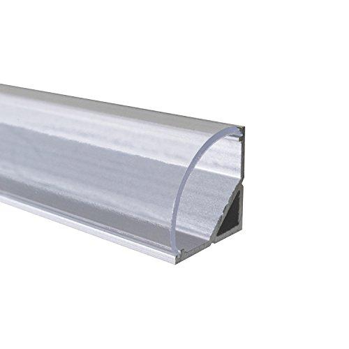 KLAR - 200 cm LED Aluminium Profil ECKE-RUND + 200 cm transparent durchsichtige Abdeckung für LED-Streifen Alu von Alumino®