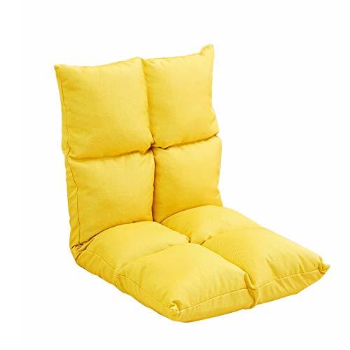 LIXIONG Silla de Suelo, Plegables Soporte para Espalda del Asiento 5 áNgulos Ajustables, Retirable SillóN Reclinable Perezoso para Juego MeditacióN FáCil de Limpiar (Color : Yellow)