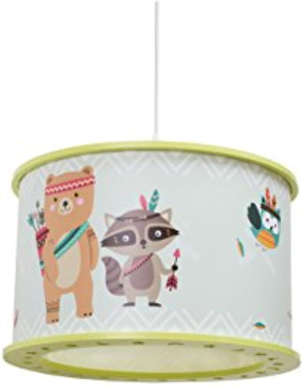 Elobra Kinderlampe Little Indians Fuchs Filip  Pendelleuchte für Kinder, Holz, 40 W, Lindgrün