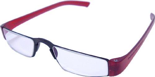 Porsche Design leesbril model P'8801 ~ Dioptrie: +1,00 ~ kleur zwart mat en beugel rood ~ kant-en-klare bril met ergonomisch gevormde beugels van high-tech kunststof en middendeel van roestvrij staal. De materiaalmix maakt ze bijzonder stabiel, licht en comfortabel om te dragen.