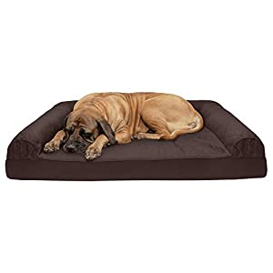Furhaven Pet Dog Bed – Cooling Gel Memory Foam Quilted Traditional Sofa-Style Living Room Couch Pet Bed with Removable Cover for Dogs and Cats, Coffee, Jumbo Plus