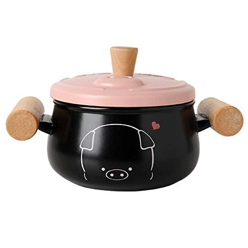 KaiKai Plato de la cazuela Grande y Sopa Ensaladera con Aislamiento tazón con Tapa Fuentes for Horno cazuela de cerámica Lindo del oído cazuela cazuela de Piglet cazo (Tamaño: 2,5 l) (Size : 1.2L)